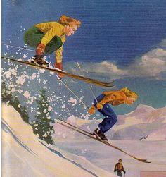 Vintage Ski Wear Ad Photo by digoryandlucy Ski Vintage, Vintage Ski Posters, Vintage Prints, Wilde Hilde, Ski Bunnies, Etiquette Vintage, Images Vintage, Ski Wear, Snow Skiing