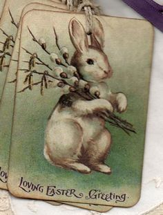 Vintage Easter Bunny Rabbit Gift Tags Favor Tags by luvs2create2 on etsy.