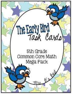 Check out this mega task card set!  FIVE sets of task cards (24 cards per pack).  Great way to review the 5th grade Common Core curriculum.