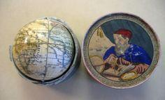 Peter Salziger (?) pocket globe: handcolored and varnished lithographed terrestrial globe, [Nuremberg, 1st half of 19th century]