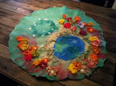 custom LARGE Hand felted embroided wool silk Waldorf Steiner pretend play story mat made to order on Etsy, $150.00 AUD