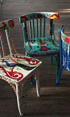 Amazing Boho Painted Wooden Chairs    Love Them