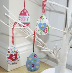 Cute painted Easter egg hanging decorations | eBay UK