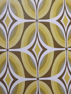 Retro Wallpaper 70s geometric funky yellow green mustard by mumxie