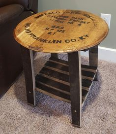 Upcycled barrel wood Upcycled barrel wood made into an end table. Wine Barrel End Table, Wine Barrel Chairs, Bourbon Barrel Table, Whiskey Barrels, Whisky Barrel Lid, Bourbon Barrel Furniture, Wine Glass Shelf, Barrel Projects, Vintage Embroidery
