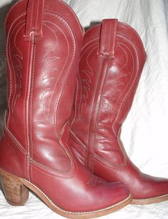 Vintage DEXTER cowboy boots red brown color by OutOfMyMamasAttic, $69.99