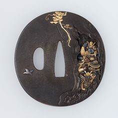 Tsuba with design of four samurai hiding in a tree. Japanese Edo period mid-19th century - Senoo Yoshinaga http://www.mfa.org/collections/object/tsuba-with-design-of-four-samurai-hiding-in-a-tree-11624