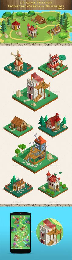 Isometric Game Asset - Medieval Buildings Vol 1 - Tilesets Game Assets