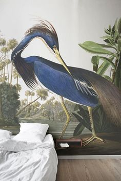 Add a sense of intrigue to your interiors with this art wallpaper mural. Painter John James Audubon captures this silent predator with such detail and colour while it spots it's unsuspecting prey. Perfect for creating a statement wall that doubles as a conversation point in your home.