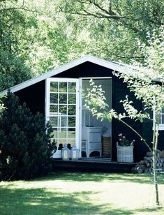 Back Yard Studio in Black and White — Sarah Greenman Cabins In The Woods, Cottage Homes, Black House, Airstream, House Painting, House Colors, Beautiful Homes, Outdoor Living, Tiny House