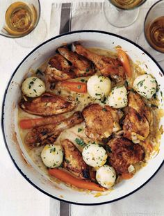 Coq au Vin (what I love about this recipe is that there is no thickener needed and no pork products)