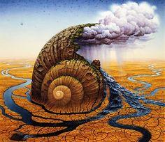 Fantasia Fantastic Images Imagination Jacek Worlds Painting Surreal Yerka. the cloud maker snail.