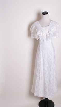 White Western Wedding Dress with Back Bow / Alternative Bridal / Wedding Dress / Vintage / Dress / Alternative Bridal / White Lace / 1156. $128.00, via Etsy.