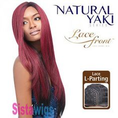 Outre Synthetic Lace Front Parting Wig Natural Yaki 24 Inch