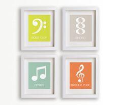 Little Musician - Set of Four 5x7 Art Prints - Nursery Decor, Nursery Wall Art, Children Decor, Playroom Decor, Music, Notes, Piano Lessons