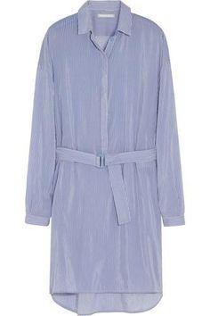 Striped cotton and silk-blend shirt dress #dress #offduty #women #covetme #richardnicoll