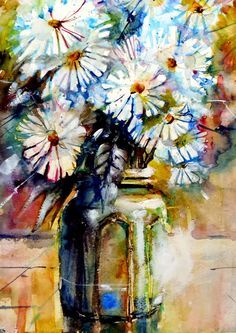 B6560 Impressionist, Watercolor Art, Daisy, Flowers, Painters, Watercolors, Artists, Watercolor Painting, Watercolour Paintings