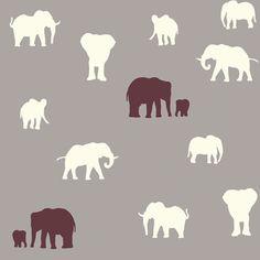 Gray Elephant Fabric Organic Cotton Birch by MountainFabrics