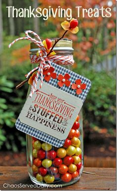 Thanksgiving Treats Jar...a quick and easy hostess or teacher gift!  From ChaosServedDaily.com