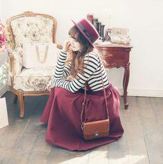 Cute burgundy long skirt