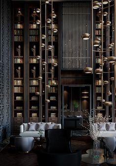 Lobby Lounge of Puli Hotel in China on Behance Hotel Lobby Design, Hotel Lounge, Lobby Lounge, Dark Interiors, Hotel Interiors, Lobby Interior, Interior Architecture, Design Entrée, House Design