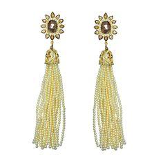 SUTRA Gold Rough and Rose cut Diamond & Pearl Tassel Earrings