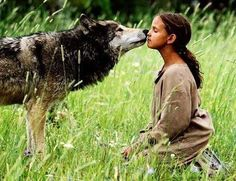 Wow, such trust on her part. But then again, the wolf has NEVER had the capacity to be evil. I'd trust the wolf more than any human! Wolf Spirit, Spirit Animal, Fantasy Animal, Beautiful Wolves, Wolf Girl, Mundo Animal, Lone Wolf, Tier Fotos, Werewolf