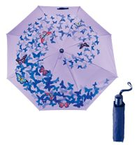 """Empowerment Butterfly Motif Umbrella  Auto-open, 3-fold umbrella with wrist loop. 21"""" canopy. 100% polyester. Comes with a cover.   100% of net profits ($6.62) will be donated to the Avon Foundation for programs dedicated to ending violence against women."""