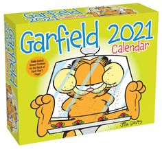 A funny day-to-day calendar with full-color Garfield comic strip on every page. A tabby, Garfield lives in Muncie, Indiana, where he is kept well-fed by his creator, cartoonist Jim Davis. Excitement! Adventure! Action! Not on your life! The only thing active about Garfield is his imagination. Daily cartoon calendar about the self-centered, lasagna-loving, fat cat and his funny friends - Liz, Jon and Odie. #cats #catlovers #calendar2021 #humor #funny #calendars #garfield #cartoon Funny Calendars, Desk Calendars, Daily Calendar, 2021 Calendar, Garfield Comics, Garfield Cartoon, Jim Davis, Cool Cats, Comic Strips