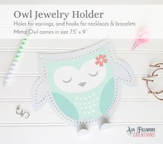 Mint Owl Jewelry Holder, jewelry holder, girls jewelry holder, owl wall decor by AjaFillmoreCreations on Etsy
