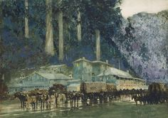 William Blamire YOUNG When the horse teams came to Walhalla watercolour over pencil x cm (comp.) x cm irreg. (image and sheet) x cm irreg. (support) Marshall p. 493 National Gallery of Victoria, Melbourne Gift of Sir Harry Wunderly, 1971 Australian Artists, Art History, Melbourne, Graphic Design, Design Art, Horses, Watercolor, Explore, Gallery