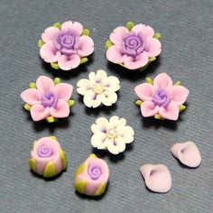 5pcSetPurple PinkPolymer Clay DIY Flowers Set for by naturaler, $2.15