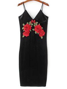 Embroidered Velvet Cami Vintage Dresses - BLACK M