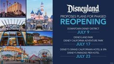 Disney announces Disneyland Phased Reopening Dates Disneyland Hotel, Downtown Disney, Walt Disney, Disney Food, Disneyland Dining, Disneyland Tips, Disney Theme, Disney Cars, Disney Cruise