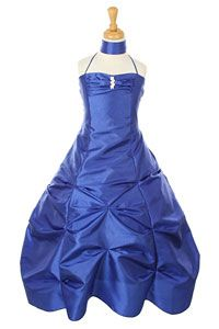 Flower Girl Dresses-   Girls Dress Style 1026- ROYAL BLUE Halter Taffeta Pickup Dress