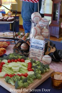 Baseball Diamond Veggie Tray - How to Throw an All American Baseball Baby Shower | Beyond the Screen Door