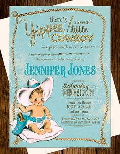 Cute Little Cowboy Baby Shower Invitation Pinterest Cowboy baby
