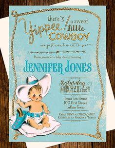 cowboy baby shower invitations printed western vintage blue hat rope