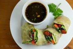 The Salty Tomato | Vegetable Spring Rolls with Citrus Soy Dipping Sauce – Meatless Monday | http://the-salty-tomato.com