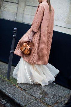 Tulle maxi + nubby coat