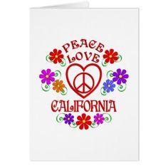 Peace Love California Card - love cards couple card ideas diy cyo