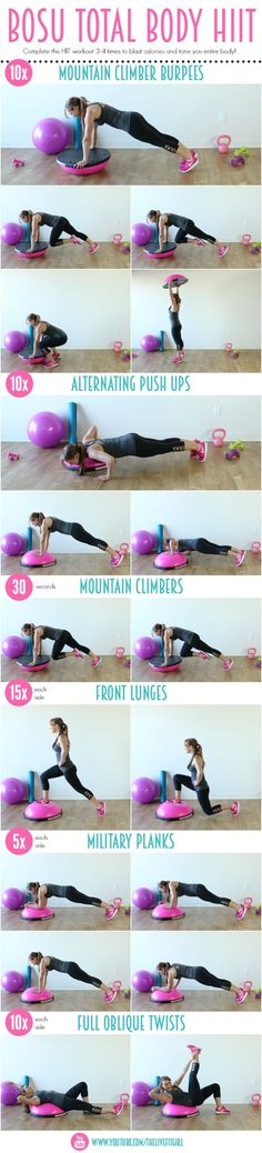 your cardio AND strength training in with this BOSU Total Body HIIT workout!Get your cardio AND strength training in with this BOSU Total Body HIIT workout! Bosu Workout, Fitness Workouts, Lower Ab Workouts, Fitness Tips, Health Fitness, Stability Ball Workouts, Total Body Workouts, Workout Ball, Bike Workouts