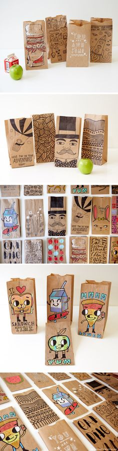 Creative Lunch Bag Decorating Ideas with Hallmark artists | thinkmakeshareblog.com #DIY