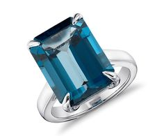 London Blue Topaz Rectangular Ring  in Sterling Silver