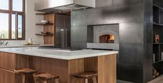 Modern design kitchen with wood pizza oven by carney logan burke architects Interior Trim, Interior Exterior, Kitchen Interior, Interior Ideas, Modern Kitchen Design, Modern Design, Kitchen Designs, Modern Kitchens, Kitchen Ideas