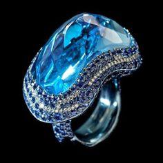 """Wallace Chan. """"Blue Fantasy"""". Blue Topaz, Diamond, Sapphire, Titanium @ 2012 Wallace Chan"""