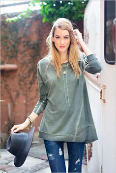Oil Washed Tunic Olive Small - Large