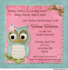 Baby Owl Shower Invitation....love the invitation not the saying!
