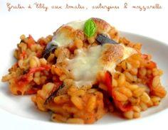 Gratin d'Ebly aux tomates, aubergines et mozzarella