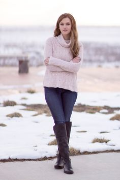 Cable-knit turtleneck sweater and over the knee boots